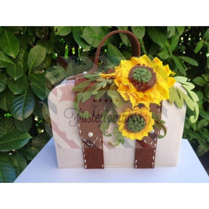 Kit Fustella A4 + XL Valigia con fiore e tag Set 2 fustelle